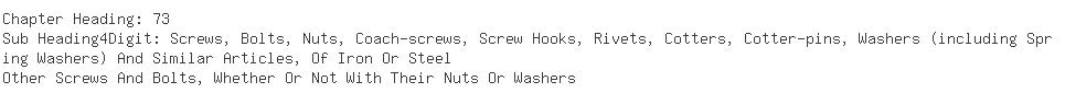 Indian Importers of hex head screw - General Motors India Pvt. Ltd